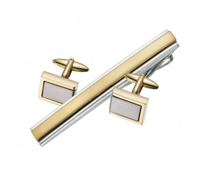 TWO TONE CUFFLINKS/ TIE BAR SET