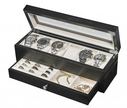 Wooden Watch box with jewelry drawer